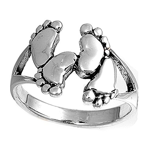 Sterling Silver Woman'S Baby Feet Fashion Ring Fashion Comfort Fit 925 Band 13Mm Size 10 Valentines Day Gift