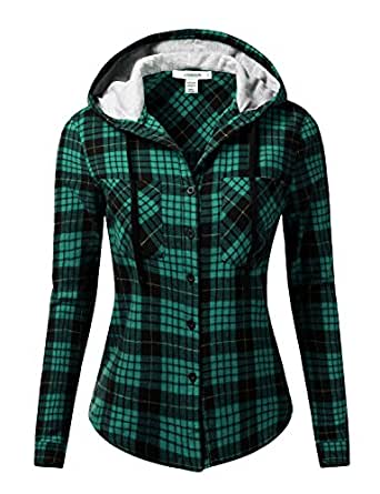 J tomson women 39 s long sleeve hooded plaid checkered button for Button up flannel shirts