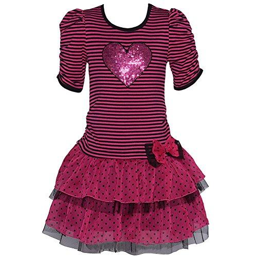 Lipstik Little Girls 6 Pink Black Stripe Sequin Heart Ruffle Dress front-956435