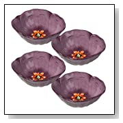 Luxe Samantha Floral Tidbit Purple Bowls, Set of 4