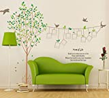 Dagou Huge Size 5.5'(H) 9.7' x (W) DIY fresh green leaves and large trees on the birds Wall decals enjoy mobile families, children, living room with movable wall stickers...