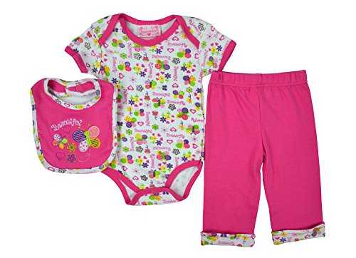 Alfa Global Baby Girl'S Infant Mix Printed Shirt Bodysuit And Capri 3Pcs. Set 0-3 Months front-347176