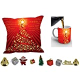 MeSleep Merry Christmas Cushion Cover In Digital Print, Mug And Christmas Decoration Combo