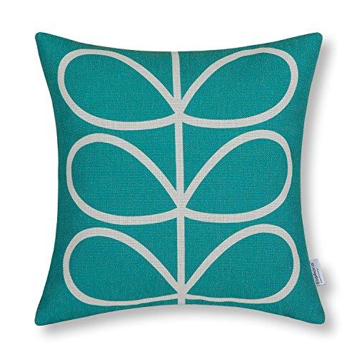 "Euphoria Home Decorative Cushion Covers Pillows Shell Cotton Linen Blend Cute Stem Geometric Figures Teal Color 18"" X 18"""