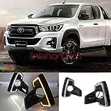 FidgetKute DRL LED Daytime Running Light Fog LAMP W Turn Signal for Toyota Hilux Rocco 2018