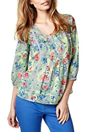 Per Una Scoop Neck Floral Blouse [T62-9539I-S]