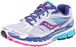 Saucony Women's Guide 8 Running Shoe,White/Twilight/Pink,8.5 M US