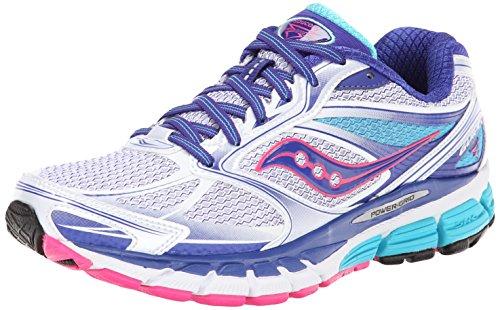 Saucony Women's Guide 8 Running Shoe,White/Twilight/Pink,7.5 M US