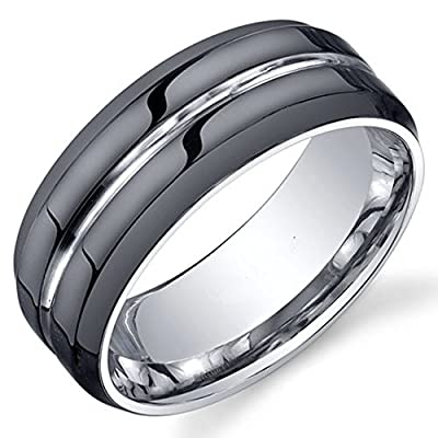 King Will Black Modern Mens Tungsten Ring with Grooved Center - Polished Finish