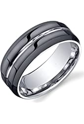 King Will 8mm Black Modern Mens Tungsten Ring Wedding Band Grooved Center Polished Wedding Band 7-14