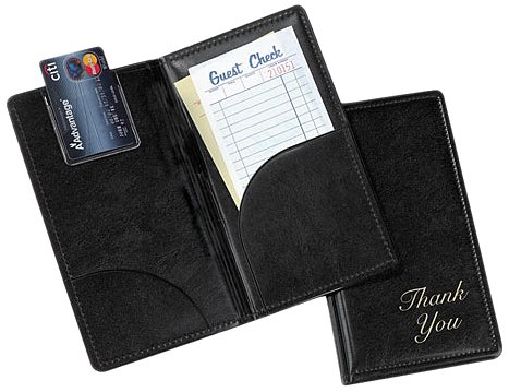 Tablecraft 59BK Vinyl Stamped Check Presentation Holder, Black