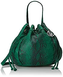 Armani Jeans Snake Printed Draw String Tote Shoulder Bag, Green, One Size