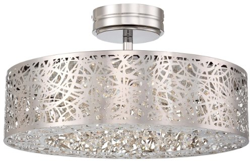 Kovacs P985-077-L 1 Light Led Semi-Flush Ceiling Fixture From The Hidden Gems Co, Chrome