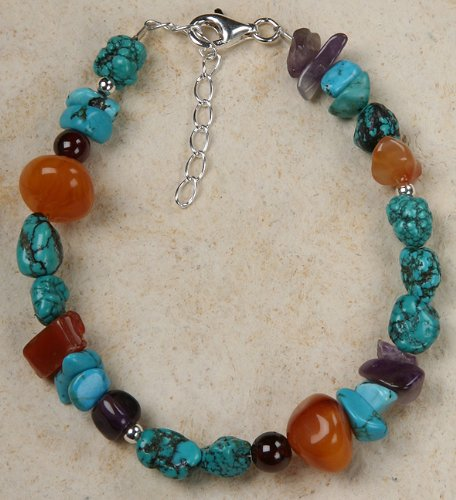 Bracelet - Amethyst, Amber, Turquoise and Garnet