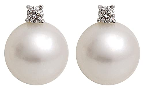 Kimura Pearls 8.0-8.5mm White Semi Round AA Quality Cultured Fresh Water Pearl and Diamond Stud Earrings 9 Carat