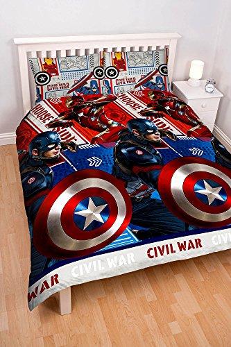 "Character World - Set copripiumino matrimoniale, motivo: ""Captain America Civil War"""