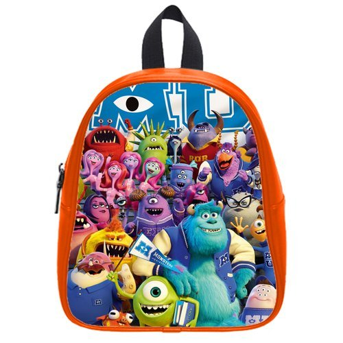 Generic Custom Cute Disney Monsters University Roles Printed Red School Bag Backpack Fit Short Trip Pu Leather Small front-969433