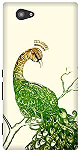 The Racoon Grip Peacock White hard plastic printed back case for Sony Xperia M2
