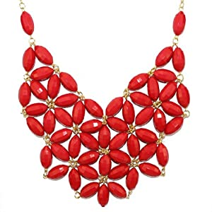 Latest Inspired Fashion Bib Statement Crystals Colorful Beads Acrylic Necklace Red