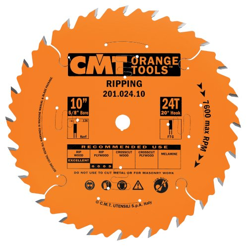 CMT 201.024.10 Industrial Ripping Saw Blade, 10-Inch, Diameter, 24 Teeth, 5/8-Inch, Bore, 0.126 Kerf, 0.087 Plate, FTG grind, 20-Degree Hook Angle
