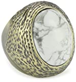 """Beyond Rings """"Castaway Cabochon"""" White Howlite Statement Ring"""