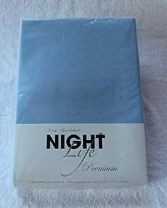 NightLife Jersey Spannbettlaken Farbe himmelblau blau Größe 180 x 190 bis 200 x 200 cm Spannbettuch Spannlaken mit Rundumgummi 100% Baumwolle