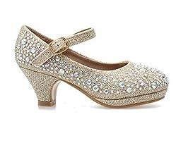 Forever Dana-58k Kids Mid Heel Rhinestone Pretty Sandal Mary Jane Platform Dress Pumps (11, Champagn)