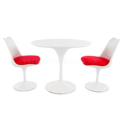 "Saarinen Style 35.5"" Medium Size White Tulip Table & 2 Tulip Chairs - Grey Seat Cushions"