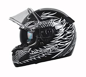 Vega Attitude Full Face Snowmobile Helmet with Fierce Graphic (Black, Medium)