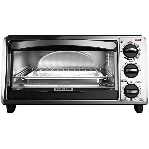 BLACK+DECKER TO1313SBD 4-Slice Toaster Oven, Includes Bake Pan, Broil Rack & Toasting Rack, Stainless Steel/Black Toaster Oven (Best Toaster Oven Broiler compare prices)