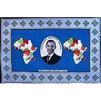 カンガ アフリカの布 限定生産 タンザニア記念カンガ 『オバマ米大統領就任キャンペーン記念』 (青×赤) k-34 【期間限定セール中!】