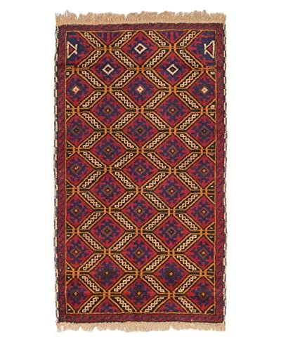 Hand-Knotted Teimani Wool Rug, Red, 2′ 7″ x 4′ 5″ Runner