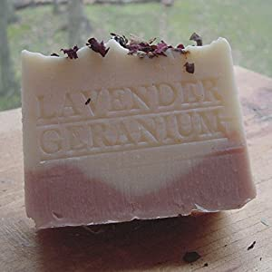 Natural Handcrafted Soap Provence French Lavender Egyptian Geranium with Rose Clay, Crushed Flowers and Organic Shea Butter (Face and Body Soap)