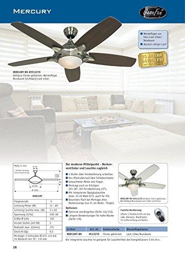 Casafan Mercury 9513270 - Ventilatore da soffitto in alluminio spazzolato, con lampada integrata, pale in legno di noce, 132 cm, design moderno, colore: Argento/noce