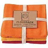 Now Designs Flour Sack Dishtowels, Flame/Marigold/Petal, Set of 3