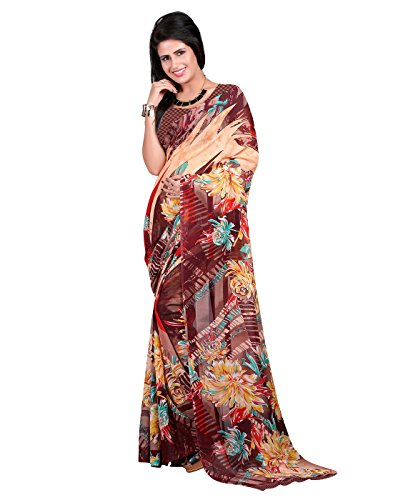 Lookslady awesome Brown, Beige, Red color Georgette Fabric Regular Use Floral Print saree and blouse combo  available at amazon for Rs.394
