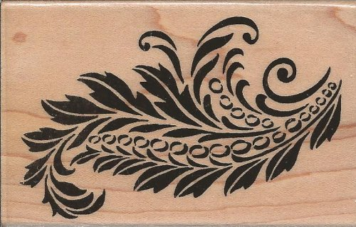 Classic Plume Wood Mounted Rubber Stamp (M128)
