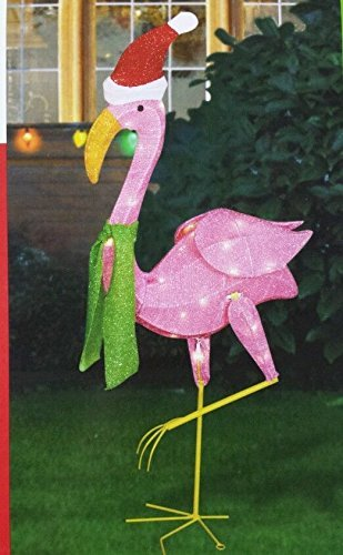 Christmas Lighted Tinsel Flamingo with Scarf Home Garden ...