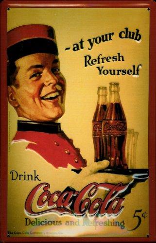Targa in metallo Coca Cola at your Club scudo Nostalgia scudo Coke retrò cartello pubblicitario