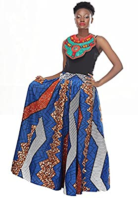 African Planet Women's Trees Cotton Wax Skirt Queen Inspired Elastic waist Maxi