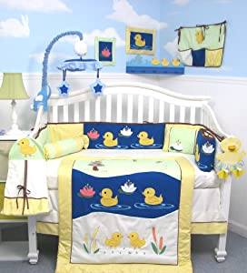 SoHo Quack Quack Ducks Baby Crib Nursery Bedding Set 13 pcs included Diaper Bag with Changing Pad & Bottle Case