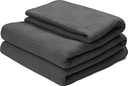 Cotton Throw Blankets (Twin, Smoke Grey) Breathable Thermal Bed/Sofa Blanket Couch Quit by Utopia Bedding (Thermal Blanket Cotton compare prices)