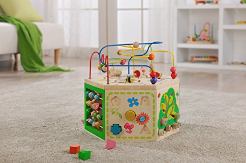 Everearth Garden Activity Cube Wood Shape Color Sorter Bead Maze Counting Baby Toy Toddler