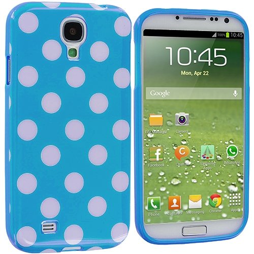 Cell Accessories For Less (Tm) Baby Blue / White Tpu Polka Dot Skin Case Cover For Samsung Galaxy S4 // Free Shipping By Thetargetbuys front-674331