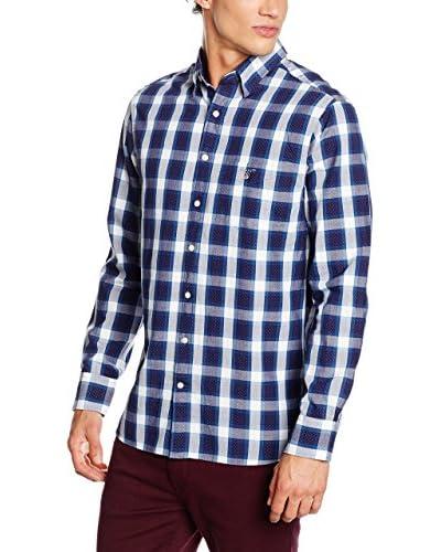 GANT Camisa Hombre Plaid Pin Dot Reg. Hidden Bd Azul