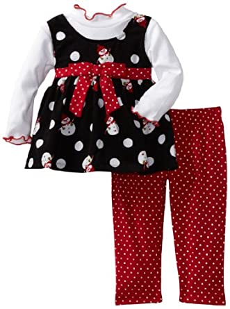 Blueberi Boulevard Baby-Girls Infant Cord Snowman Jumper Set, Black, 12 Months