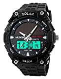 Mudder-wasserdichte-und-militrische-Outdoor-LCD-Armbanduhr-Sportuhr-fr-Mnner-von-50M-Sonnenenergie-Schwarz