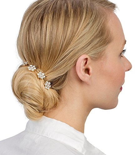 six sommer haarschmuck goldene haar nadeln hair pins mit strass blumen dutt frisur. Black Bedroom Furniture Sets. Home Design Ideas