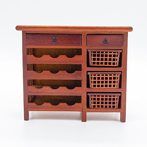 1:12 Miniature Wine Cabinet Shelving Buffet Hutch Wooden W/Drawers Doll House