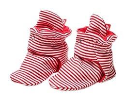Zutano Unisex-Baby Newborn Candy Stripe Booties, Red, 3 Months